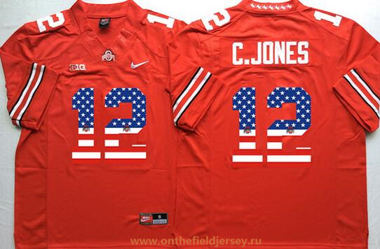 Men's Ohio State Buckeyes #12 Cardale Jones Red USA Flag Fashion Stitched 2015 Nike NCAA Jersey