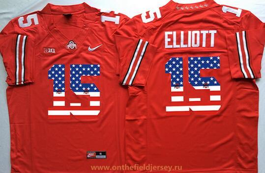 Men's Ohio State Buckeyes #15 Ezekiel Elliott Red USA Flag Fashion Stitched 2015 Nike NCAA Jersey