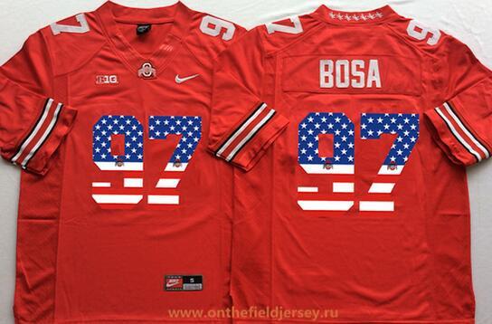 Men's Ohio State Buckeyes #97 Joey Bosa Red USA Flag Fashion Stitched 2015 Nike NCAA Jersey