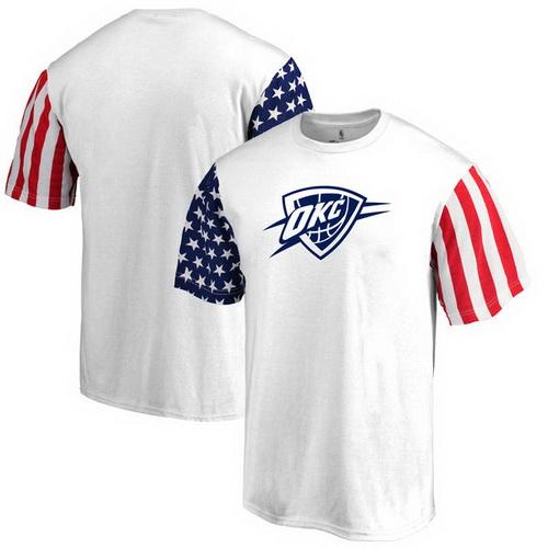 Oklahoma City Thunder Fanatics Branded Stars & Stripes T-Shirt - White