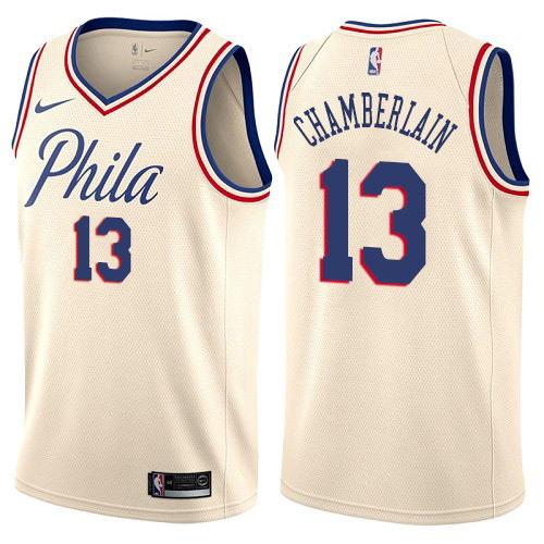 Philadelphia 76ers #13 Wilt Chamberlain Cream Nike NBA Men's Stitched Swingman Jersey City Edition