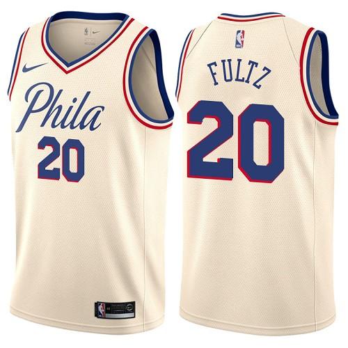 Philadelphia 76ers #20 Markelle Fultz Cream Nike NBA Men's Stitched Swingman Jersey City Edition
