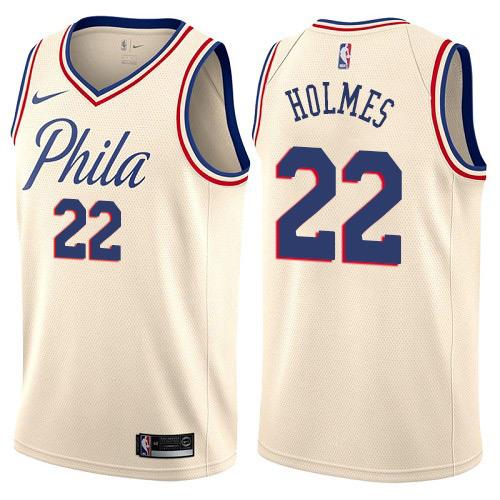 Philadelphia 76ers #22 Richaun Holmes Cream Nike NBA Men's Stitched Swingman Jersey City Edition