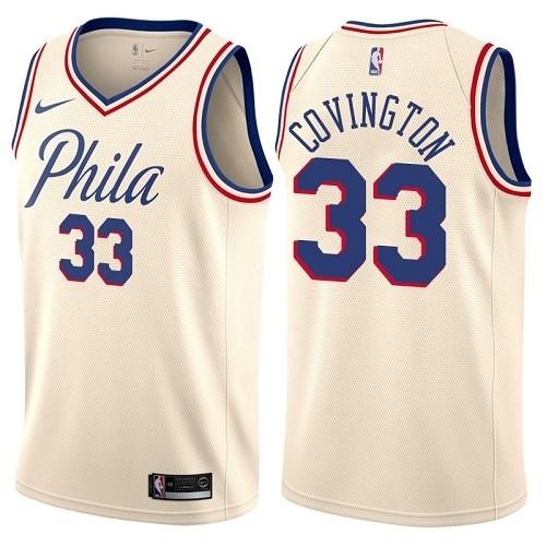 Philadelphia 76ers #33 Robert Covington Cream Nike NBA Men's Stitched Swingman Jersey City Edition