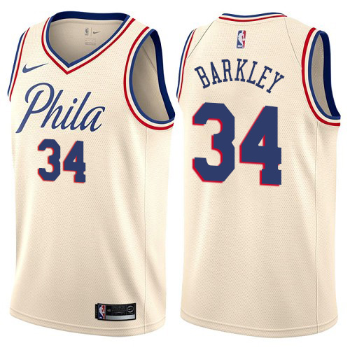 Philadelphia 76ers #34 Charles Barkley Cream Nike NBA Men's Stitched Swingman Jersey City Edition