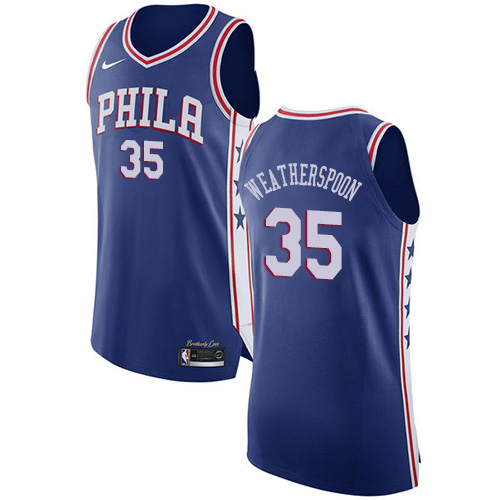 Philadelphia 76ers #35 Clarence Weatherspoon Blue Nike NBA Men's Stitched Jersey