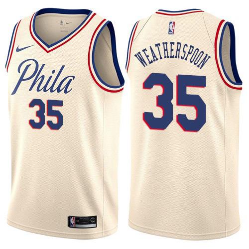 Philadelphia 76ers #35 Clarence Weatherspoon Cream Nike NBA Men's Stitched Swingman Jersey City Edition