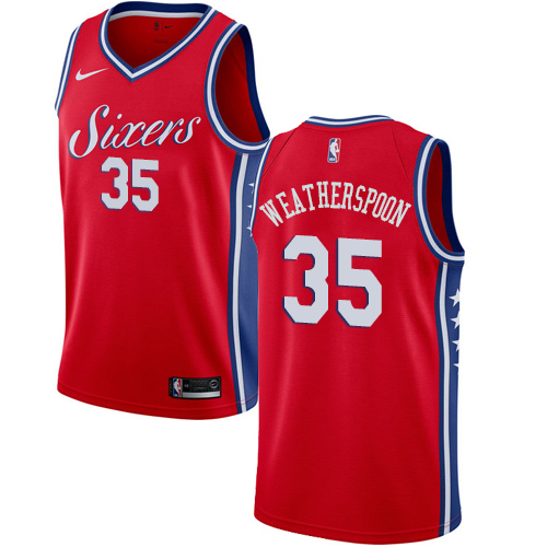 Philadelphia 76ers #35 Clarence Weatherspoon Red Nike NBA Men's Stitched Jersey