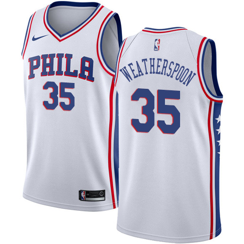 Philadelphia 76ers #35 Clarence Weatherspoon White Nike NBA Men's Stitched Jersey