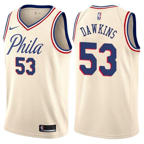 Philadelphia 76ers #53 Darryl Dawkins Cream Nike NBA Men's Stitched Swingman Jersey City Edition