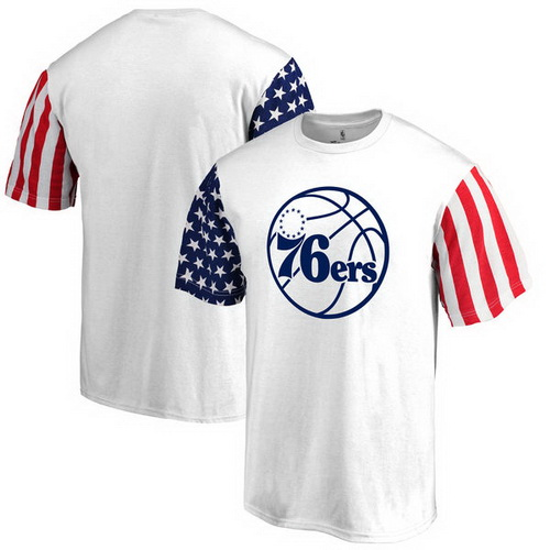 Philadelphia 76ers Fanatics Branded Stars & Stripes T-Shirt - White