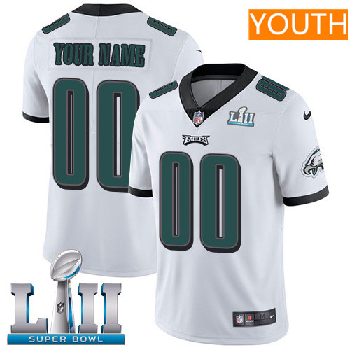 Philadelphia Eagles White Nike NFL Road Youth Jersey Custom Vapor Untouchable Limited Stitched 2018 Super Bowl LII Patch