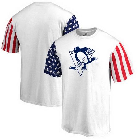 Pittsburgh Penguins Fanatics Branded Stars & Stripes T-Shirt - White