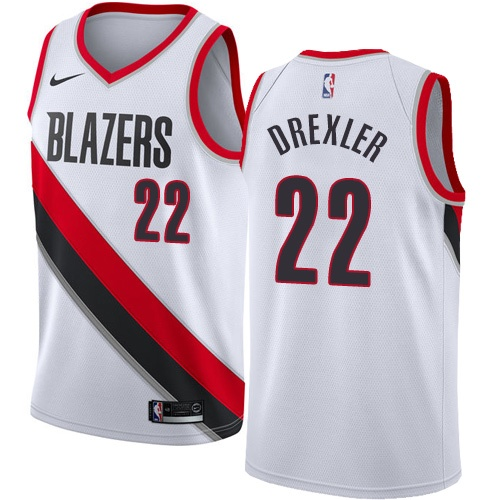 Portland Trail Blazers #22 Clyde Drexler White Nike NBA Men's Stitched Swingman Jersey