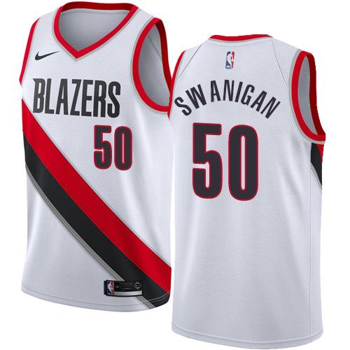 Portland Trail Blazers #50 Caleb Swanigan White Nike NBA Men's Stitched Swingman Jersey