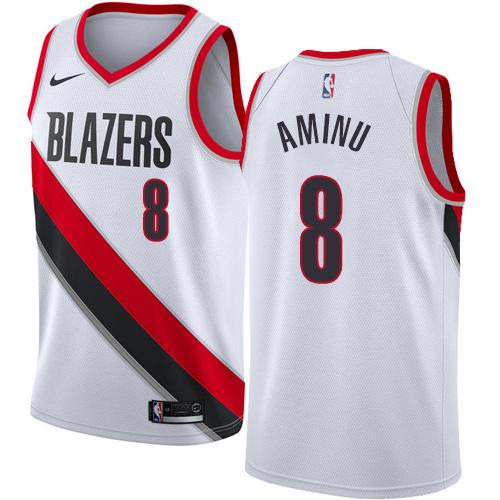 Portland Trail Blazers #8 Al-Farouq Aminu White Nike NBA Men's Stitched Swingman Jersey