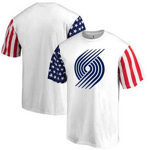 Portland Trail Blazers Fanatics Branded Stars & Stripes T-Shirt - White