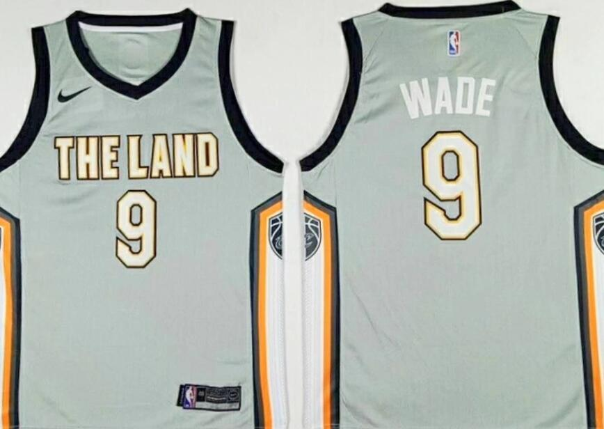 Men's Cleveland Cavaliers #9 Dwyane Wade Gray The City