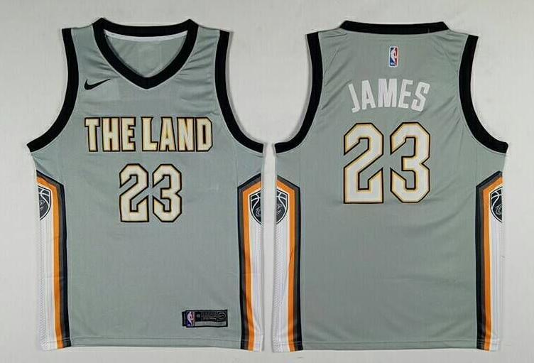 Men's Cleveland Cavaliers #23 LeBron James Gray The City
