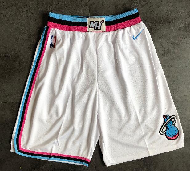 Men's Miami Heat White Pink Shorts