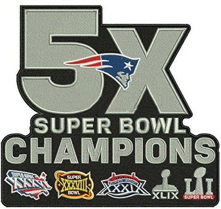 NFL Super Bowl Champs New England Patriots 5X Champions Patch
