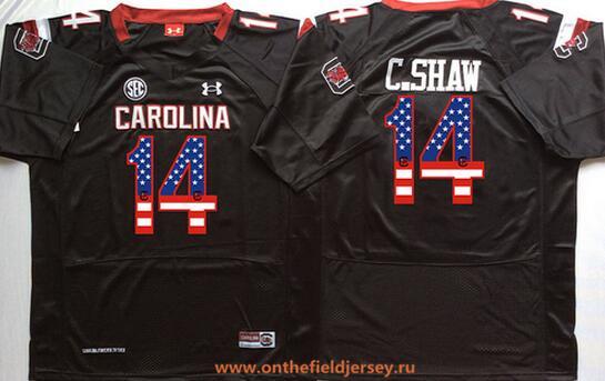 Men's South Carolina Gamecocks #14 Connor Shaw Black USA Flag Fashion Stitched Nike NCAA Jersey