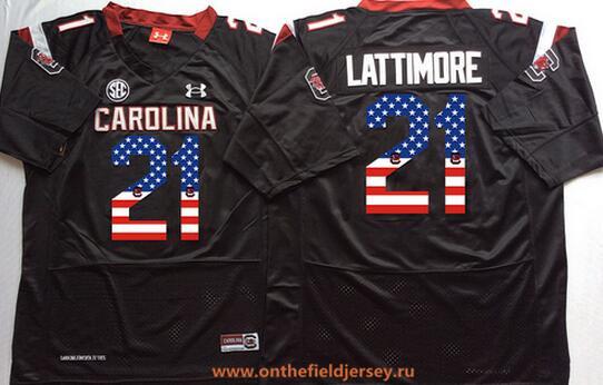 Men's South Carolina Gamecocks #21 Marcus Lattimore Black USA Flag Fashion Stitched Nike NCAA Jersey