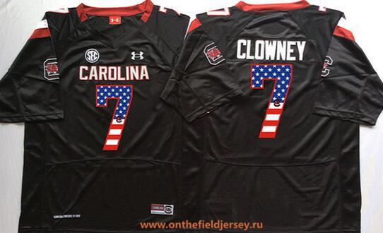 Men's South Carolina Gamecocks #7 Jadeveon Clowney Black USA Flag Fashion Stitched Nike NCAA Jersey