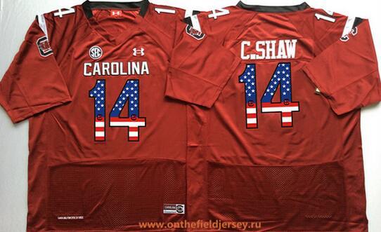 Men's South Carolina Gamecocks #14 Connor Shaw Red USA Flag Fashion Stitched Nike NCAA Jersey