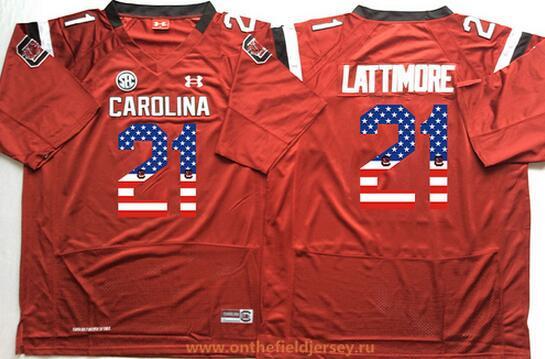 Men's South Carolina Gamecocks #21 Marcus Lattimore Red USA Flag Fashion Stitched Nike NCAA Jersey