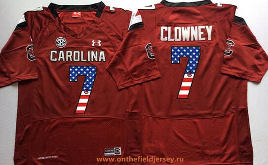Men's South Carolina Gamecocks #7 Jadeveon Clowney Red USA Flag Fashion Stitched Nike NCAA Jersey
