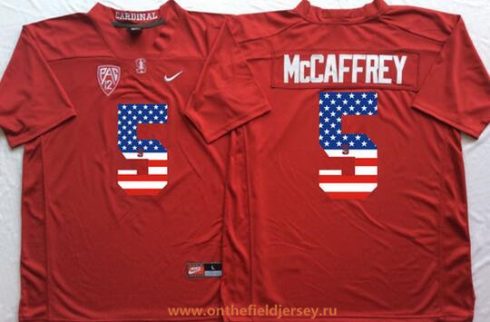 Men's Stanford Cardinal #5 Christian McCaffrey Red USA Flag Fashion Stitched Nike NCAA Jersey