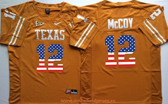 Men's Texas Longhorns #12 Colt McCoy Burnt Orange USA Flag Fashion Stitched Nike NCAA Jersey
