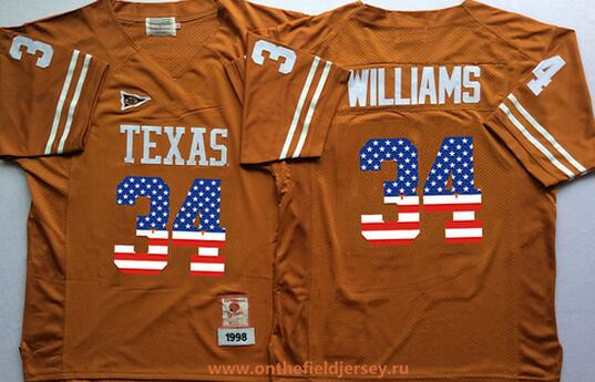 Men's Texas Longhorns #34 Ricky Williams Burnt Orange USA Flag Fashion Stitched Nike NCAA Jersey