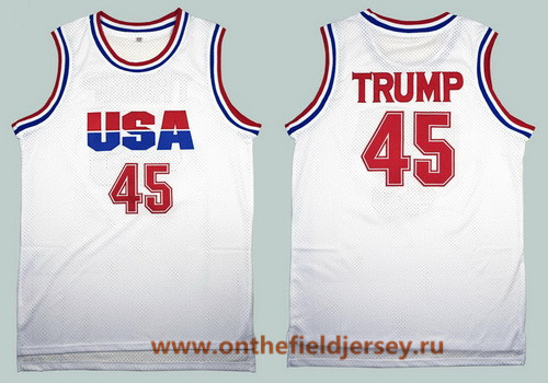 Men's Team USA #45 Donald Trump White 2016 Commemorative Edition Stitched Basketball Jersey