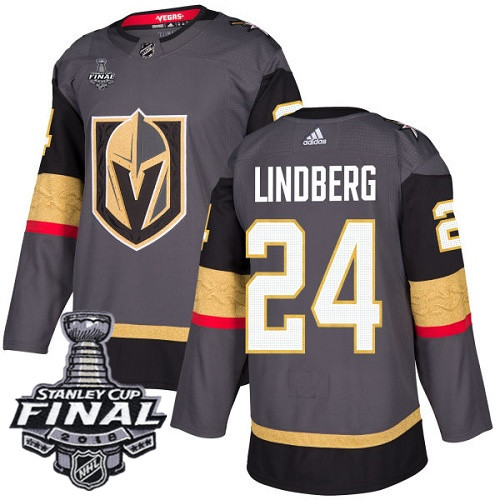 Vegas Golden Knights #24 Oscar Lindberg Gray Stitched Adidas NHL Home Men's Jersey with 2018 Stanley Cup Final Patch