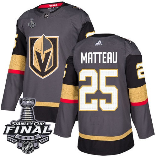 Vegas Golden Knights #25 Stefan Matteau Gray Stitched Adidas NHL Home Men's Jersey with 2018 Stanley Cup Final Patch