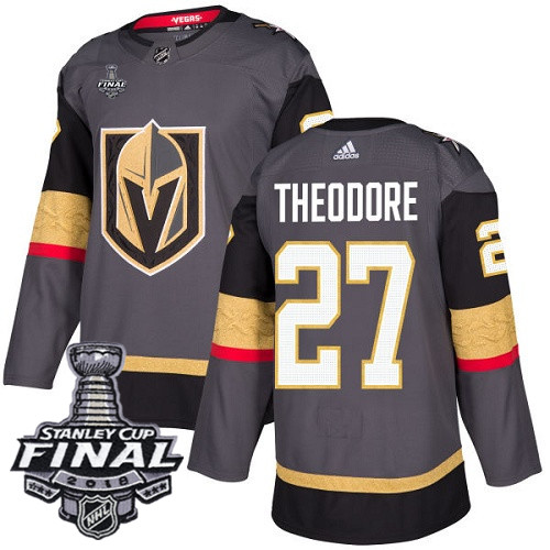 Vegas Golden Knights #27 Shea Theodore Gray Stitched Adidas NHL Home Men's Jersey with 2018 Stanley Cup Final Patch