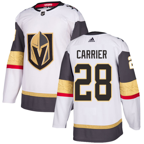 Vegas Golden Knights #28 William Carrier White Stitched Adidas NHL Away Men's Jersey