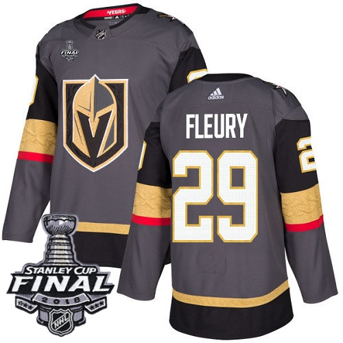 Vegas Golden Knights #29 Marc-Andre Fleury Gray Stitched Adidas NHL Home Men's Jersey with 2018 Stanley Cup Final Patch