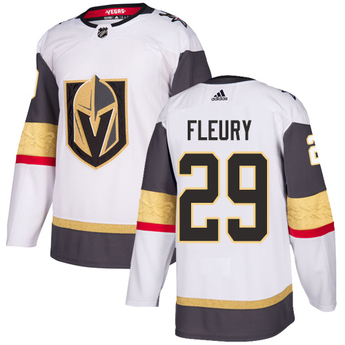 Vegas Golden Knights #29 Marc-Andre Fleury White Stitched Adidas NHL Away Men's Jersey