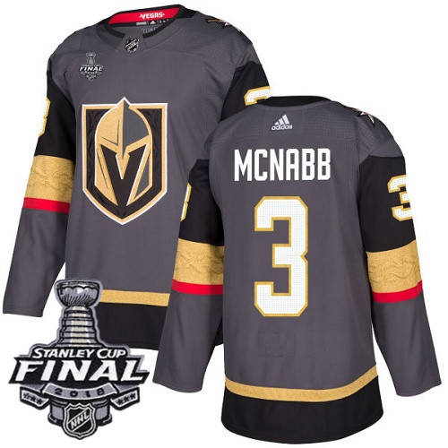 Vegas Golden Knights #3 Brayden McNabb Gray Stitched Adidas NHL Home Men's Jersey with 2018 Stanley Cup Final Patch