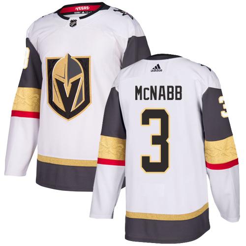 Vegas Golden Knights #3 Brayden McNabb White Stitched Adidas NHL Away Men's Jersey