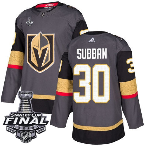 Vegas Golden Knights #30 Malcolm Subban Gray Stitched Adidas NHL Home Men's Jersey with 2018 Stanley Cup Final Patch