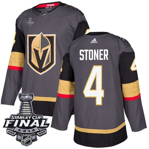 Vegas Golden Knights #4 Clayton Stoner Gray Stitched Adidas NHL Home Men's Jersey with 2018 Stanley Cup Final Patch