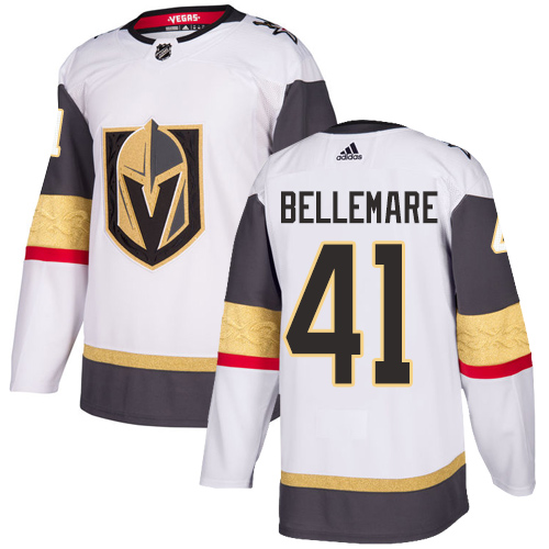 Vegas Golden Knights #41 Pierre-Edouard Bellemare White Stitched Adidas NHL Away Men's Jersey