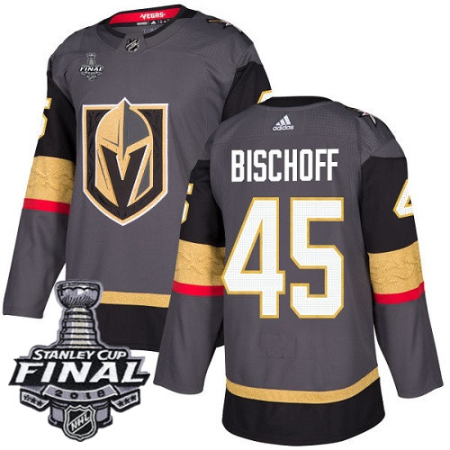 Vegas Golden Knights #45 Jake Bischoff Gray Stitched Adidas NHL Home Men's Jersey with 2018 Stanley Cup Final Patch