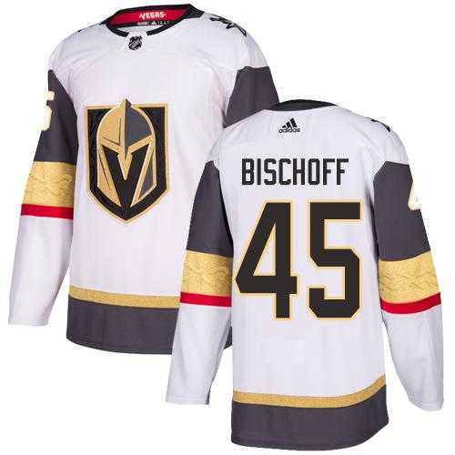 Vegas Golden Knights #45 Jake Bischoff White Stitched Adidas NHL Away Men's Jersey