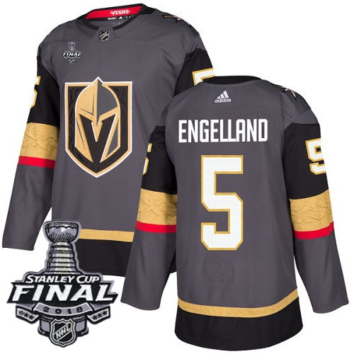 Vegas Golden Knights #5 Deryk Engelland Gray Stitched Adidas NHL Home Men's Jersey with 2018 Stanley Cup Final Patch