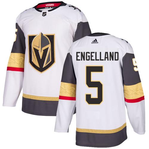 Vegas Golden Knights #5 Deryk Engelland White Stitched Adidas NHL Away Men's Jersey